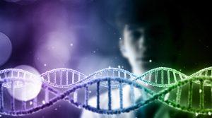 Man scientist looking at DNA molecule image at media screen