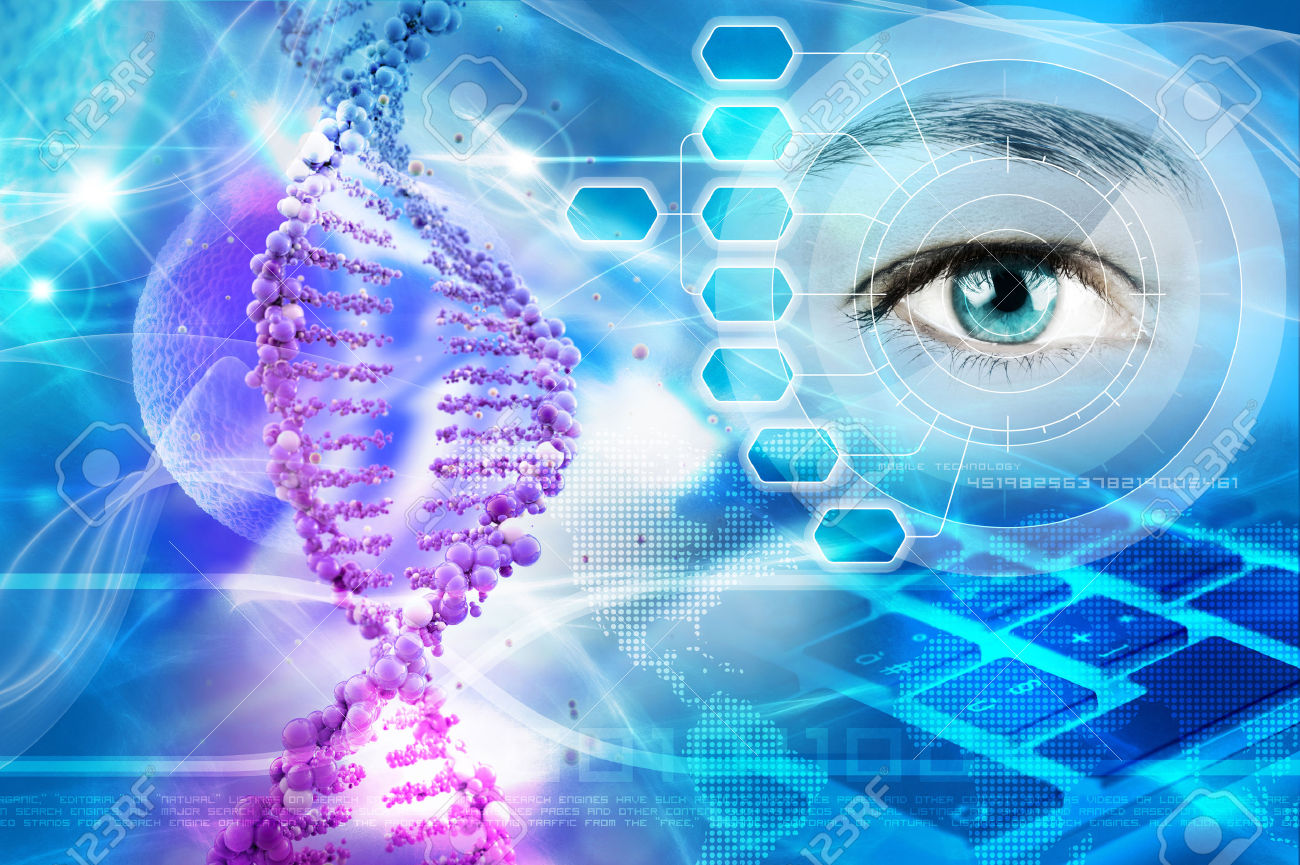 34795002-dna-helix-and-human-eye-in-abstract-blue-background-stock-photo